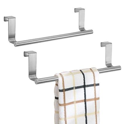 mDesign toallero sin taladro - Percha para puerta, ideal para paños de cocina o toallas