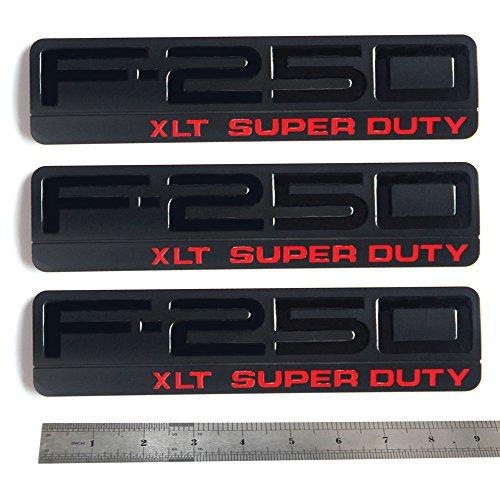 3x Black OEM F-250 XLT Super Duty Side Fender Emblems Badge 3D logo Replacement for F250 XLT Pickup Red