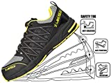 Leisart Men's Steel Toe Work Safety Shoes Athletic Lightweight Slip Resistant Sneakers Industrial and Construction Shoe(One Size Larger Than Normal)