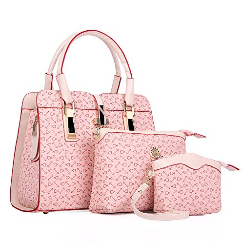 Fashion Women Shoulder Bag PU Leather Tote Handbag Crossbody Bag 3-Pcs Sets (Fashion Pu Shoulder Bag)