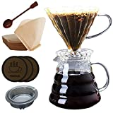Brew Glass Pour Over Coffee Maker 800ml(27oz), Pour Over Starter Set with Coffee Dripper, Pot, Scoop and 100pcs #2 Coffee Filters (800ml Pour Over Coffee Set,3 Coasters for free)