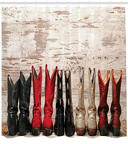Ambesonne Western Decor Shower Curtain Set, American Legend Cowgirl Leather Boots Rustic Wild West Theme Cultural Folkart Print, Bathroom Accessories, 75 Inches Long, Beige Red Black -