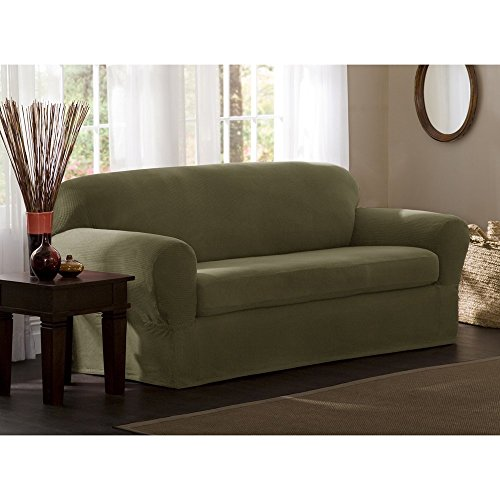 Maytex Reeves Stretch 2-Piece Sofa Slipcover, Sage (Couch Slipcovers With Separate Cushion Covers)