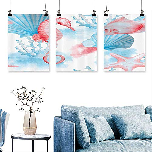(SCOCICI1588 3 Panel Canvas Wall ArtShells Seahorse and Fish Sandy ACH Exotic Stylized Watercolor Effect for Wall Decor Home Decoration No Frame 24 INCH X 35 INCH X)