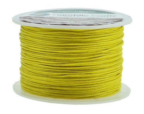 Mandala Crafts 1mm 109 Yards Jewelry Making Beading Crafting Macramé Waxed Cotton Cord Thread (Yellow Wax Cord Bracelet)
