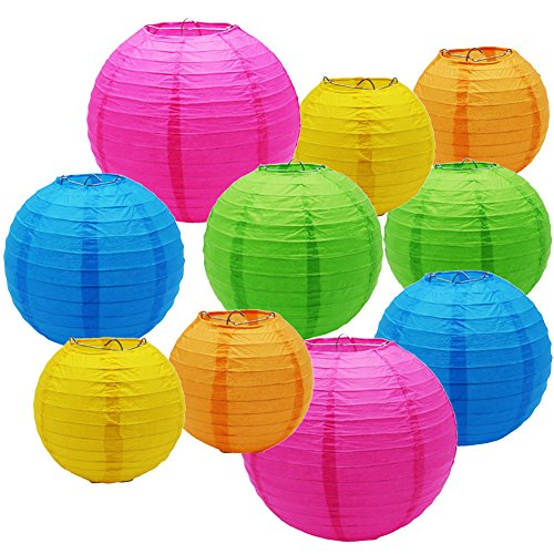SOOKOO 10PCS 10 Inch, 8 Inch, 6 Inch Assorted Rainbow Colors Paper Lantern For Birthday Wedding Party Baby Shower Decorations