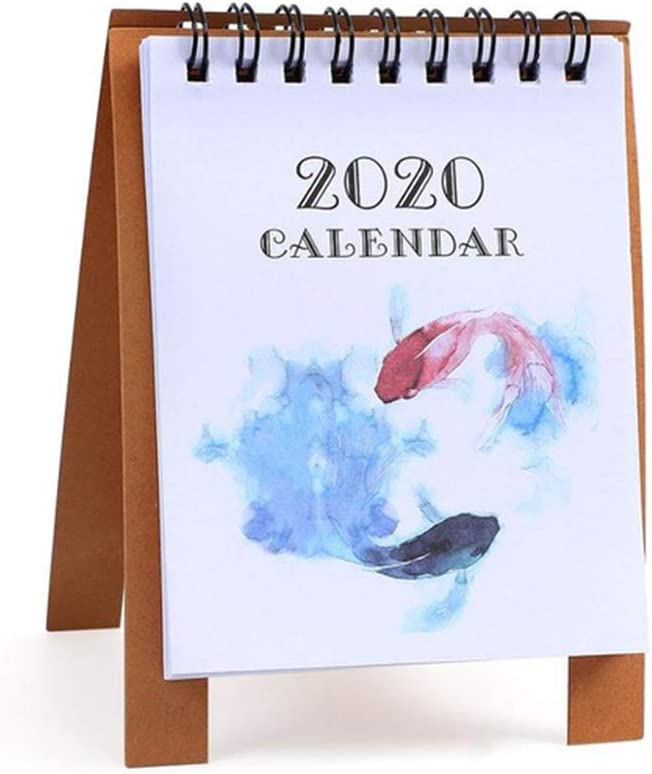 Afco Study Supplies College Students,2020 Desktop Standing Paper Calendar Memo Daily Schedule Planner Agenda Fish