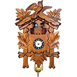 Alexander Taron Importer 0930QPT Engstler Battery-Operated Clock - Mini Size with Music/Chimes - 9.75 H x 7 W x 3.75 D, Brown