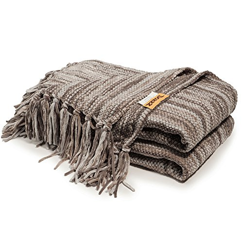 DOZZZ Fluffy Chenille Knitted Throw Blanket with Decorative Fringe and Striped for Couch Cover Sofa Chair Bed Gift Mixed Grey