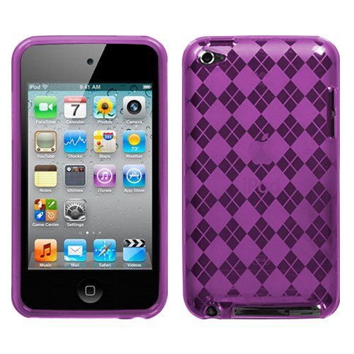 Faceplate Cover Candy - Fits Apple iPod Touch 4 (4th Generation) Soft Skin Case Purple Argyle Candy Skin (does NOT fit iPod Touch 1st, 2nd, 3rd or 5th generations)