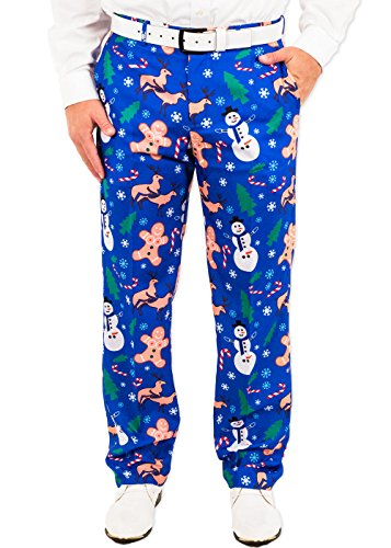 Pants Naughty (Festified Men's Holiday Naughty Christmas Suit Pants in Blue (30))