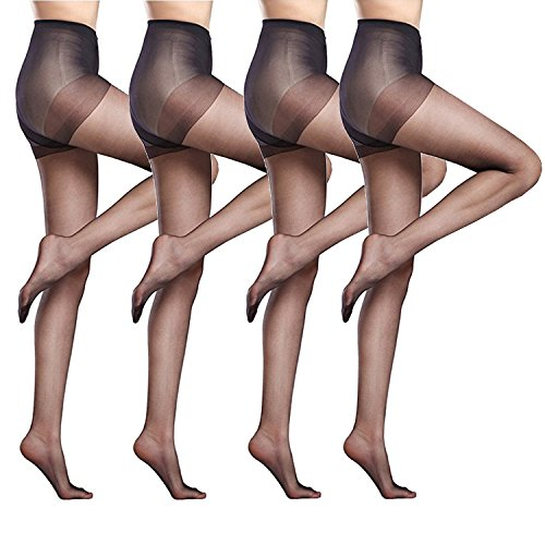 2870f908d Women s 4 Packs Stockings Ultra-Thin Seamless Control Top Sheer 15 Denier  Pantyhose