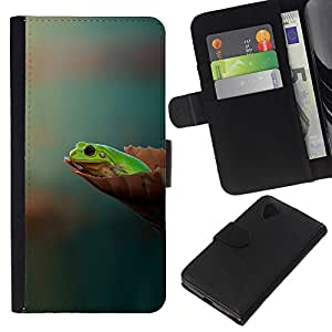 KLONGSHOP // Tirón de la caja Cartera de cuero con ranuras para tarjetas - Lista lyagushka fon - LG Nexus 5 D820 D821 //