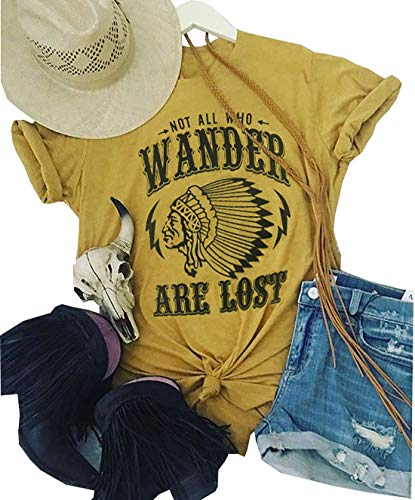 Womens Not All Who Wander are Lost T-Shirt Short Sleeve Funny Letters Print Casual Tops Tees (Yellow, ()