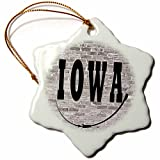 3dRose RinaPiro - US States - Iowa. State Capital is Des Moines. - 3 inch Snowflake Porcelain Ornament (orn_268694_1)