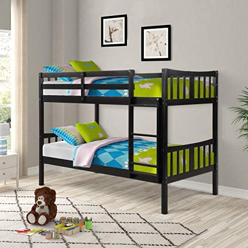 Twin Over Twin Bunk Beds, Rockjame Space Saving Design Sleeping Bedroom Solid Wood Bunk Bed with Ladder and Safety Rail for Boys, Girls, Kids, Young Teens and Adults Espresso