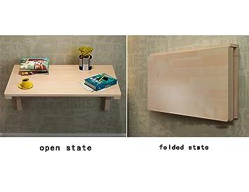 MJY Creative Home Mesas de pared de madera maciza Mesa plegable ...