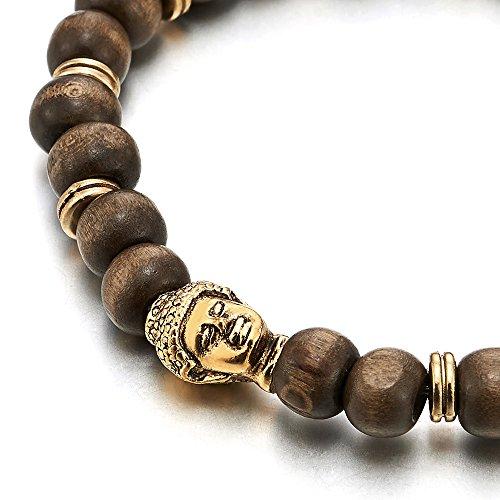 8mm Homme Femme Bracelet de Perles avce Couleur d'or Bouddha Charmes, Bois Tibetan Beads Buddhist Prayer Mala