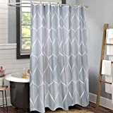 78 Long Shower Curtain Uphome Fabric Shower Curtain, Grey Water/Teardrop Cloth Shower Curtain Quick Drying, Vintage Geometric Striped Shower Curtains for Bathroom Shower Bathtubs Extra Long, 72 x 78