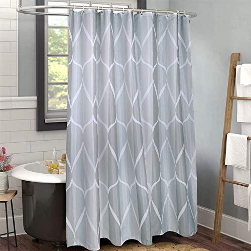 Uphome Fabric Shower Curtain, Grey Water/Teardrop Cloth Shower Curtain Waterproof, Vintage Geometric Striped Shower Curtains for Bathroom Shower Bathtubs, 72 x 72 (Curtain Shower Cloth)