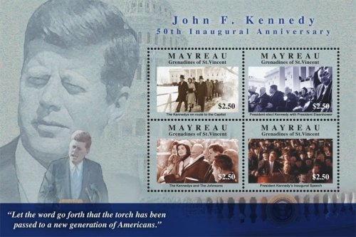 John F Kennedy Stamp - John F. Kennedy 50th Anniversary of Inauguration Collectors Stamps - Famous Quotes - Saint Vincent