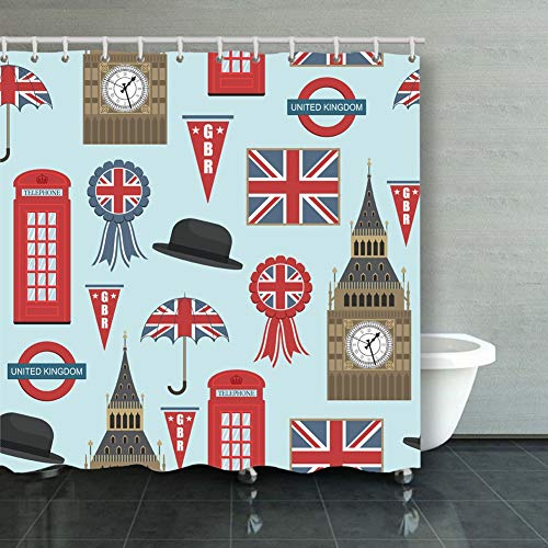 Large beach pants Shower Curtain,United Kingdom Graphics Clipping British Miscellaneous Fabric Bathroom Decor Set with Hooks,60X72 Inch -