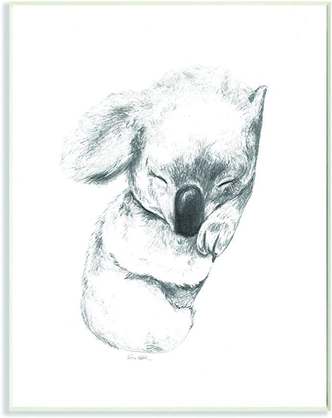 Amazon Com Stupell Industries Cute Koala Baby Animal Neutral Grey Drawing Design By Artist Daphne Polselli Wall Art 10 X 15 Wood Plaque Home Kitchen