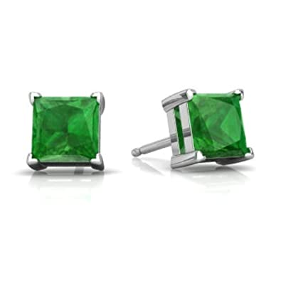 59075d878f5fc Amazon.com: 2 Ct Simulated Emerald Princess Cut Stud Earrings 14Kt ...