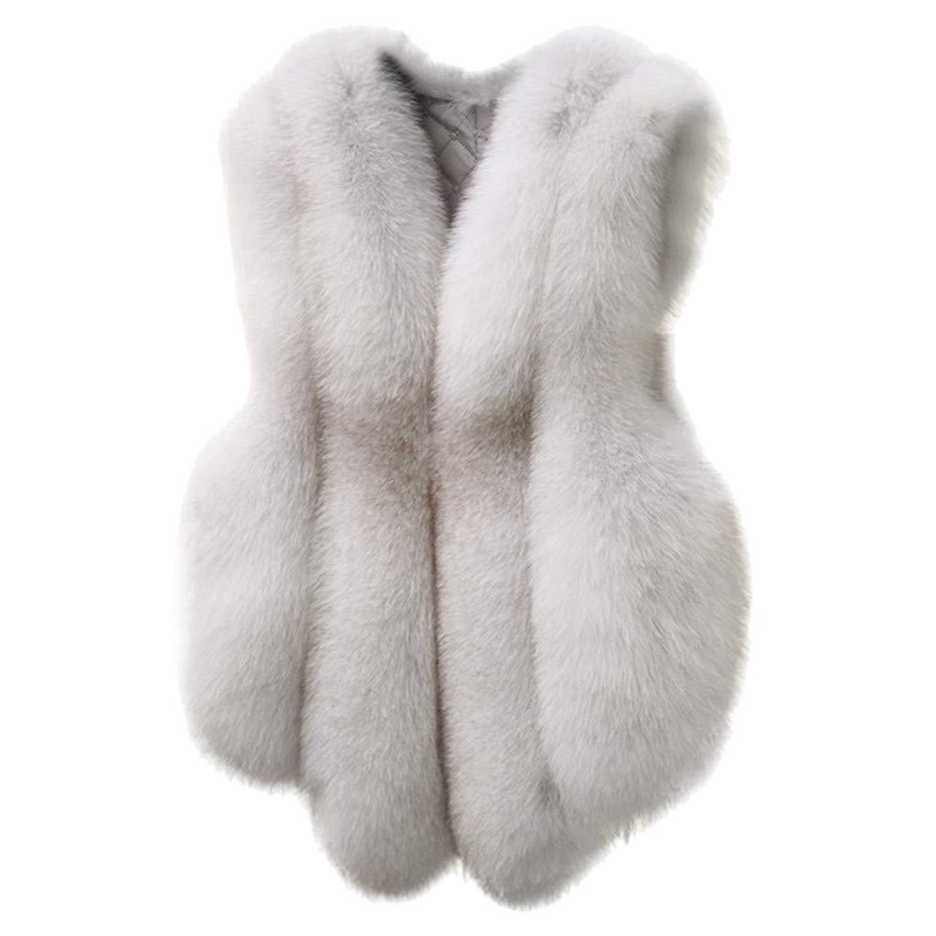 Benficial Plus Size Women's Slim Vest Gilet Outwear Warm Faux Fur Waistcoat Coat Vest by Benficial-Womens Coats