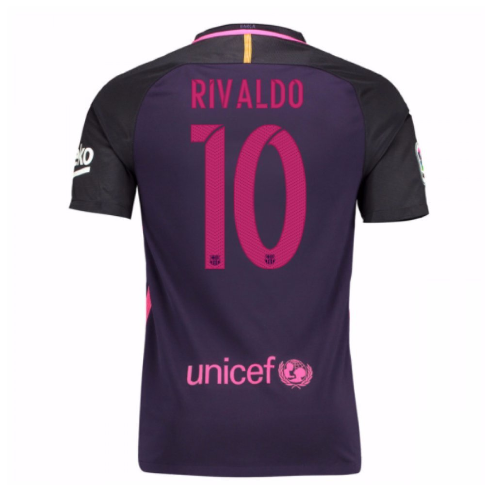 2016-17 Barcelona With Sponsor Away Shirt (Kids) (Rivaldo 10) B01MDQYJPD