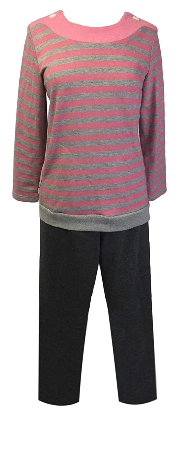 Fuchsia Stripe Benefit Wear Womens Adaptive ShoulderSnap Pant Set