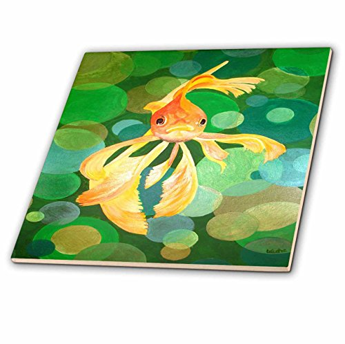 Taiche - Acrylic Painting - Fish - Vermillion Goldfish - fantail, goldfish, fantail goldfish, ryukin, metallic scales, fancy goldfish - 6 Inch Glass Tile (ct_46770_6)