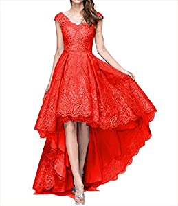 LL Bridal Women's Lace High Low Prom Dress 2018 Long Embroidery Evening Formal Gown LLP070