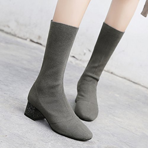 wetkiss Latest Women's Sock Boots Chunky Heels mid Calf Boot Lady Shoes Dark Green zOYuON