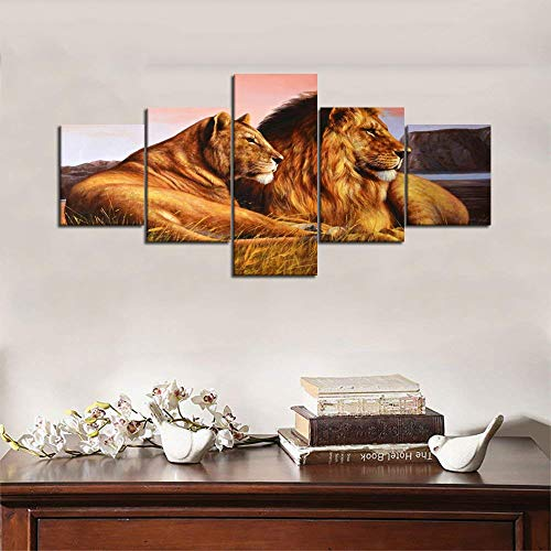 Yatsen Bridge Modern Home Decor Stretched and Framed Ready to Hang 5 Panels Wild Lioness and Lion on The Prairie Picture Prints on Canvas Wall Art for Living Room Decoration - 50