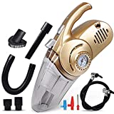 4 IN 1 Multifunctional Car Vacuum Cleaner with Tire Inflation Pump & Air Pressure Tire Gauge & LED Lighting,DC12V 120W Stainless Steel HEPA Filter 16.4ft Power Cord for Handheld Wet&Dry Use