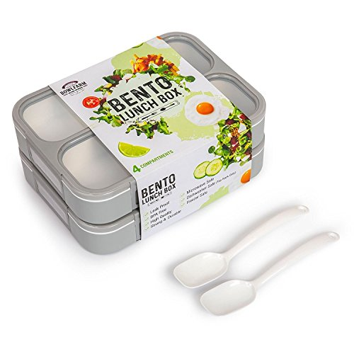 Deluxe Bento Lunch Box Set, 2 Leakproof Containers With 4 Compartments, FDA Approved and BPA-Free Meal Box For Adults and Kids, Ideal For Food Prep and Meal Planning, By Bowlfarm