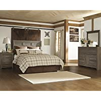 Juararoy Casual Dark Brown Color Replicated rough-sawn oak Bed Room Set, Queen Panel Headboard, Dresser And Mirror, Nightstand