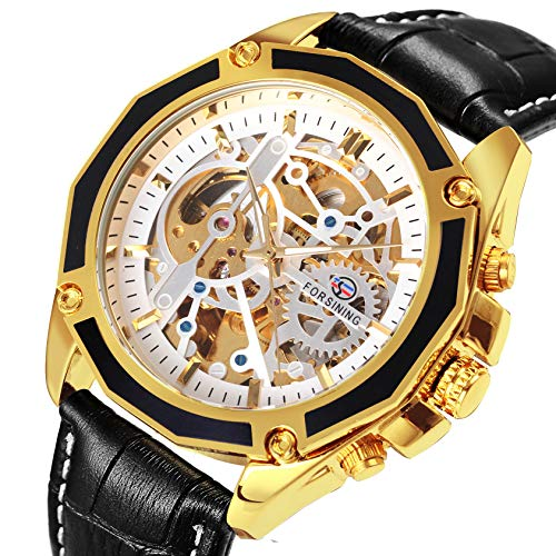 Caluxe Royal Classic Men Automatic Mechanical Skeleton Watch Genuine Leather Band 3D Dial Design (Black-White)
