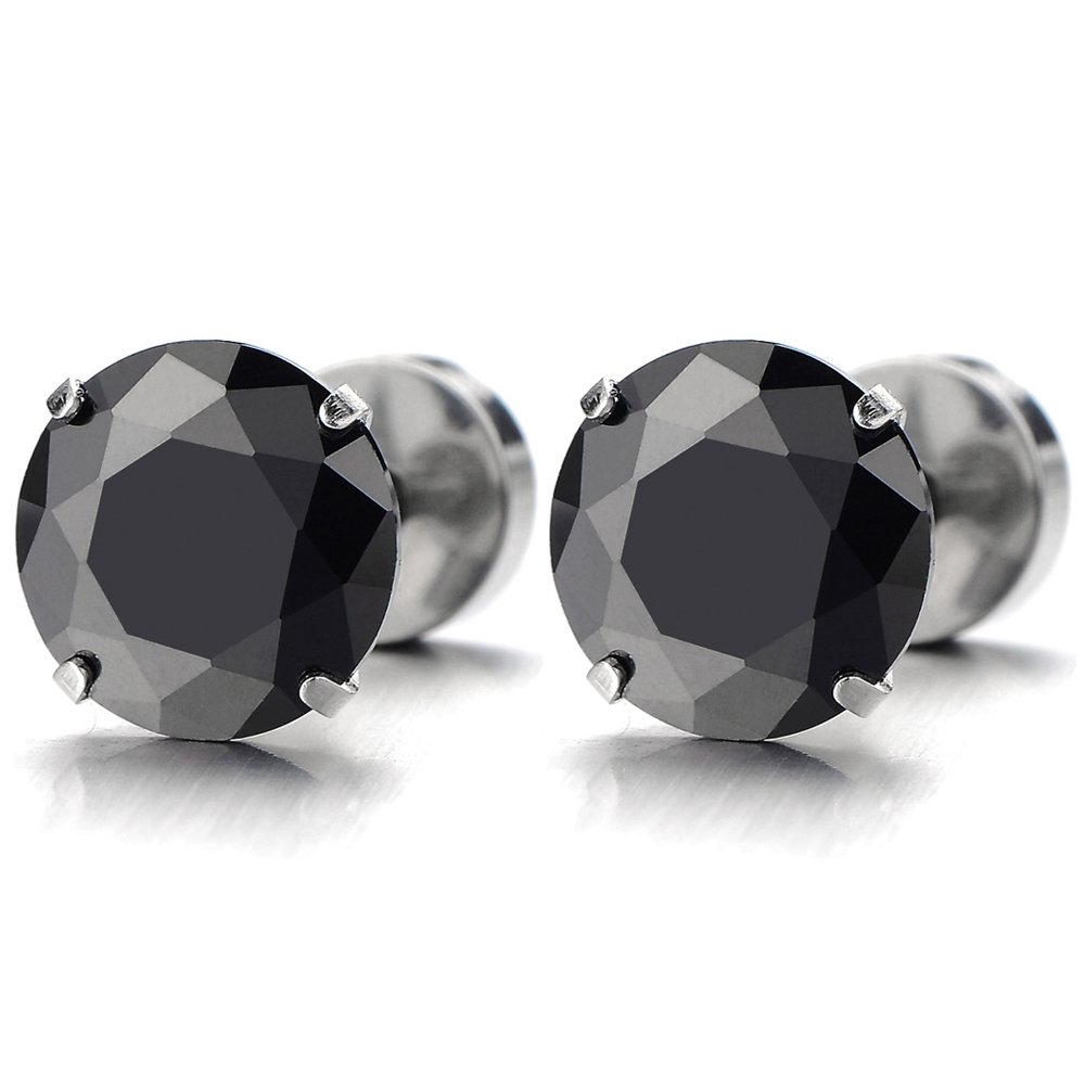 d2b9a454a Amazon.com: Pair Mens Black Cubic Zirconia Stud Earrings Stainless Steel  Screw Back Post, 3-8 MM (3MM): Jewelry