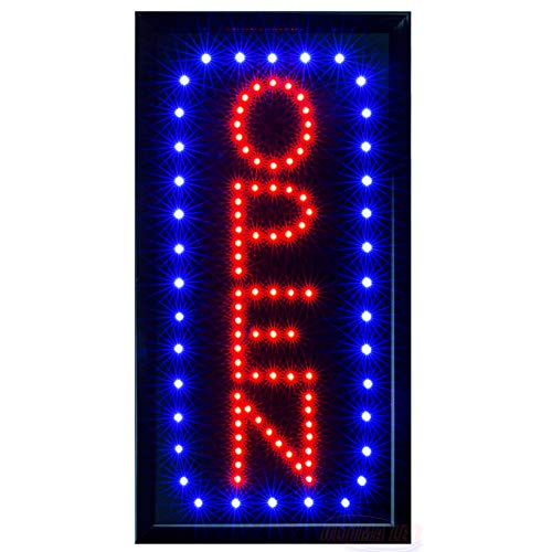 LED Neon Open Sign for Business: Vertical Lighted Sign Open with Static and Flashing Modes - Electric Light up Signs for Stores, Bars, Barber Shops (19 x 10 inches, Model 5)