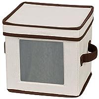Caja de almacenamiento de vajillas con tapa y manijas Essentials 534 | Cofre para platos de ensalada | Lona natural con ribete marrón