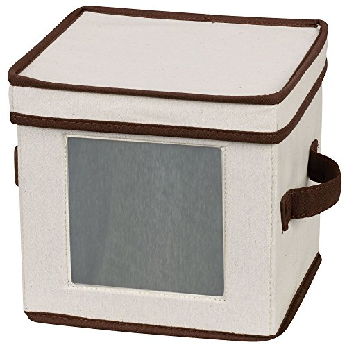 Household Essentials 534 Dinnerware Storage Box with Lid and Handles | Chest for Salad Plates | Natural Canvas with Brown ()