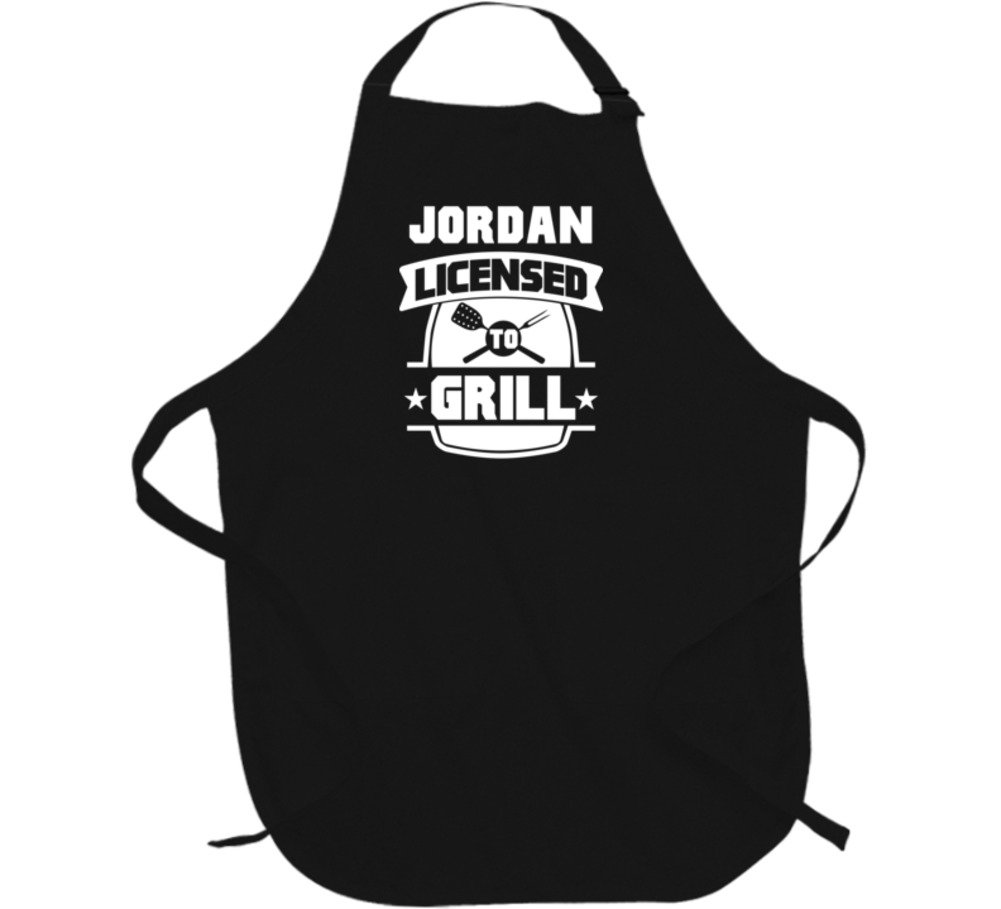Jordan Licensed To Grill BBQ Chef Parody Custom Name Father's Day Apron L Black