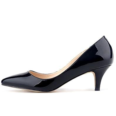 0bd99ea9f4ae Loslandifen Womens Low Mid Heels Shoes PU Patent Leather Pointed Pumps Black