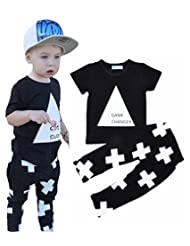 """Boys """"Game Changer"""" Triangle Short Sleeve T-shirt And Cross Print Pants Summer Outfit"""