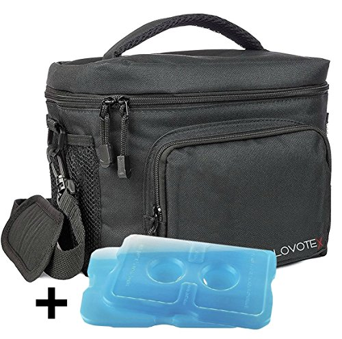 Large Insulated Lunch Bag Cooler Tote With 2 Reusable Cooler Ice Packs Easy Pull Zippers, Detachable Shoulder Strap, Roomy Compartments For Lunch Box, Bottles, Containers, Travel, Camping & More (Lunch Box Ice Bag)