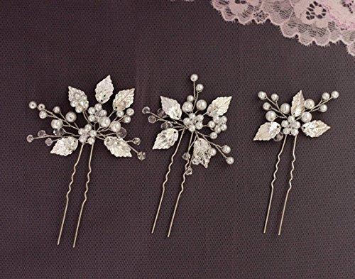 Handmadejewelrylady Bridal Vintage Wedding Party Crystal Rhinestone Hair Pins Hair Accessories Women Headpiece(pack of 3)
