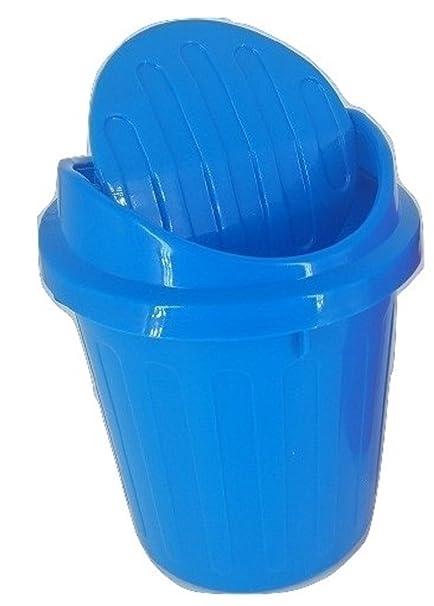 Amazoncom Desktop Mini Trash Can Rubbish Bin With Swing Lid Blue