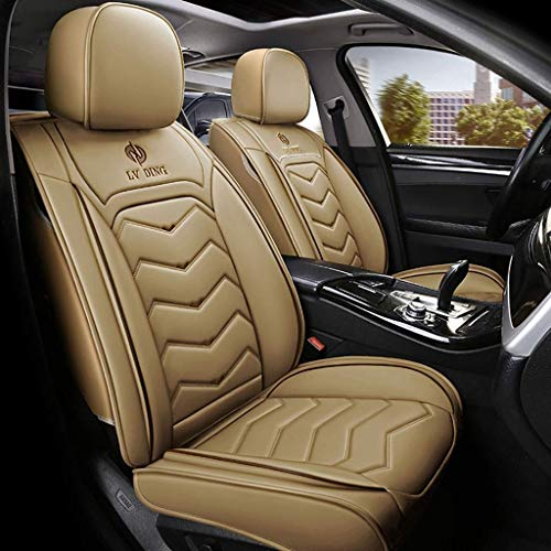 WYJW Car Seat Cover Kit, Universal Car Seat Cushion Front Front Complete Set of 5 Four Seasons Pad Synthetic Leather Seats Compatible Airbag Seat Covers Waterproof (Color: Beige):